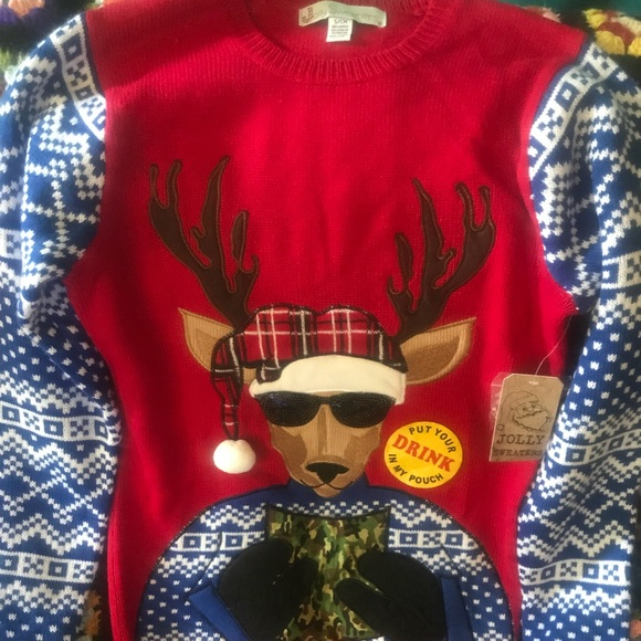 Jolly Sweaters Sweaters Reindeer Ugly Christmas Sweater With Drink